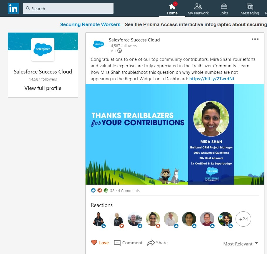 Top Salesforce Success community contributor