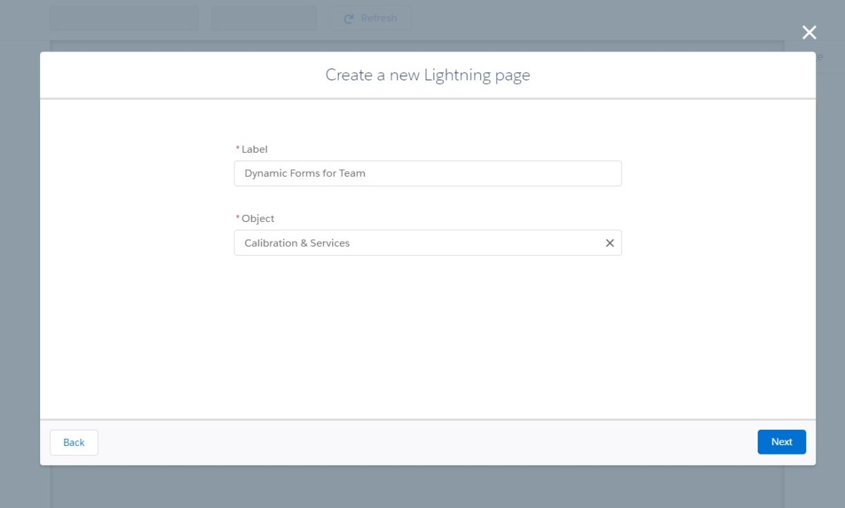 Choose new Lightning Page