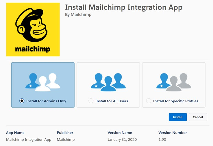 Install the Salesforce and Mailchimp integration App