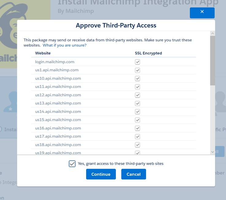 Install the Salesforce and Mailchimp integration Third Party Access