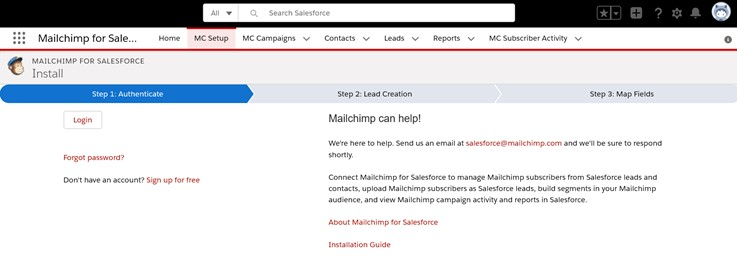 Step 1 Authentication - Connect your Mailchimp account to Salesforce