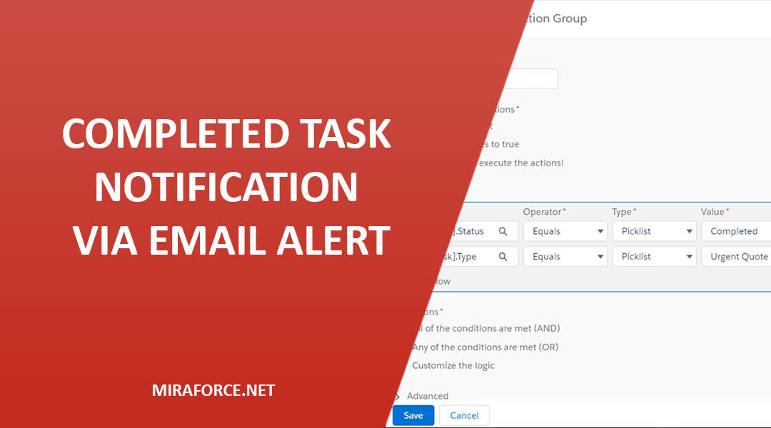 Process Builder – Completed Task Notification Via Email Alert