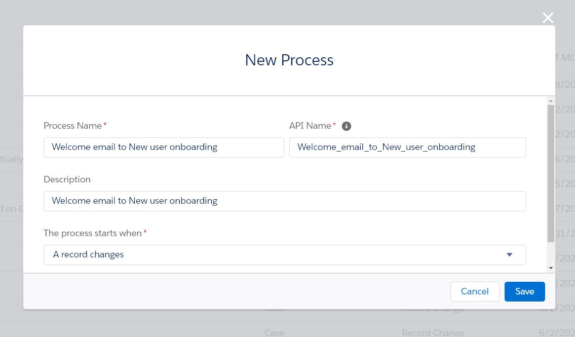 Welcome email via Process Builder
